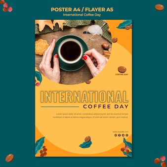 Concept d'affiche de la journée internationale du café