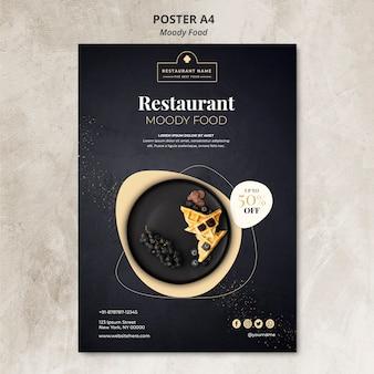 Concept d'affiche de restaurant de nourriture moody