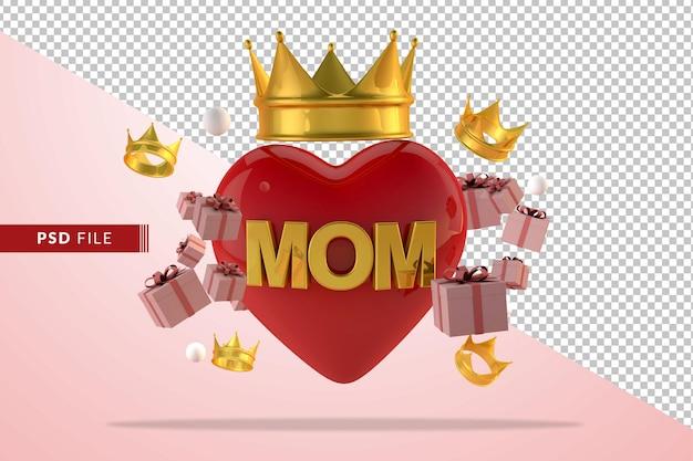 Concept d'amour numérique pour la fête des mères avec boîte-cadeau en rendu 3d