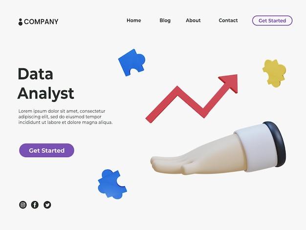 Concept d'analyste de données 3d pour la page de destination