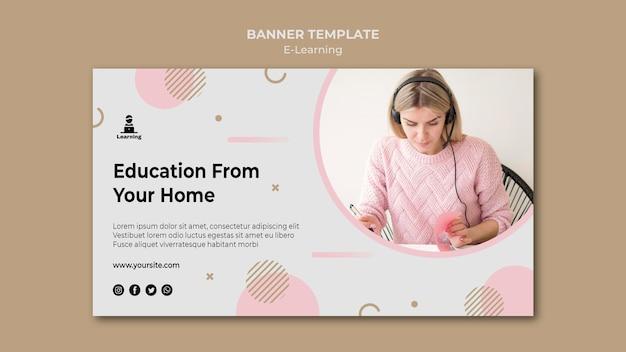 Concept d'apprentissage en ligne de bannière horizontale
