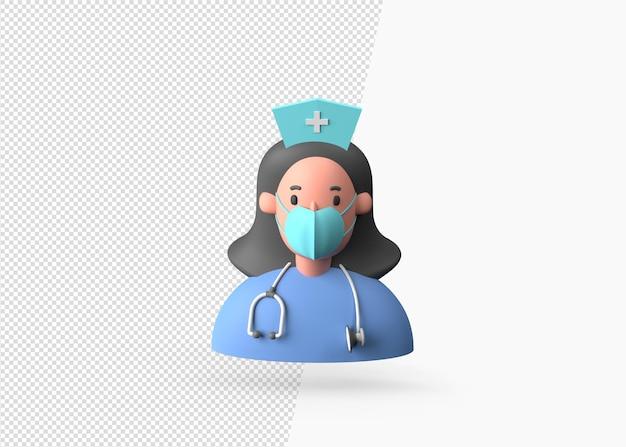 Concept d'avatar d'infirmière de rendu 3d