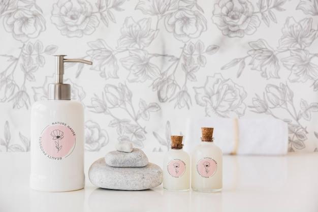 Concept de bain gros plan avec du savon