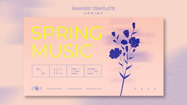 Concept de bannière de festival de musique de printemps