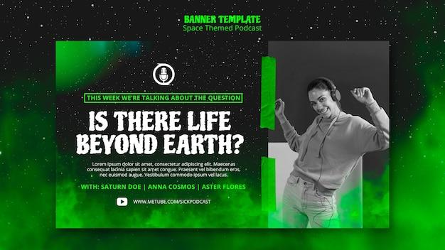 Concept de bannière de podcast sur le thème de l'espace