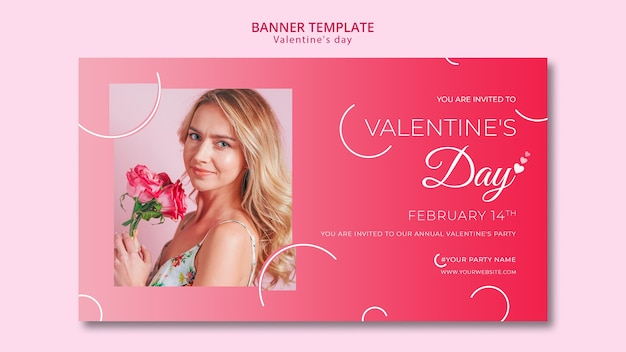 Concept de bannière pour le modèle de saint valentin