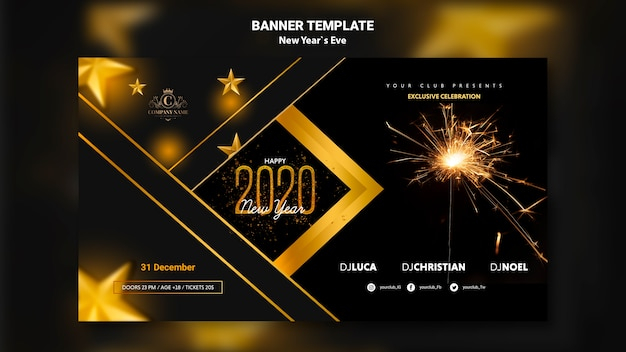 Concept de bannière pour le modèle de veille du nouvel an