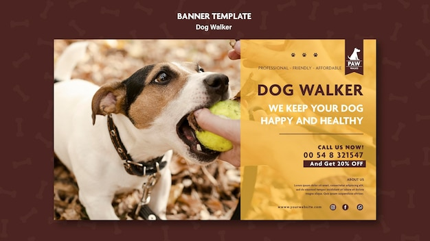 Concept de bannière de promeneur de chien