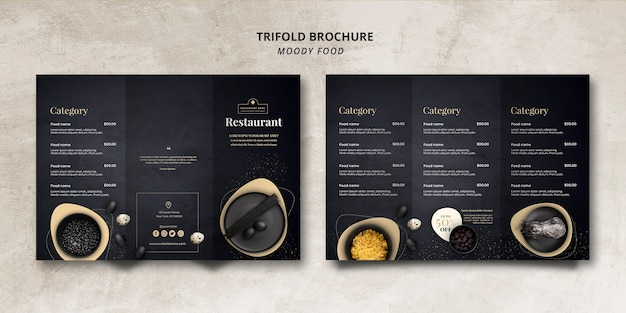 Concept de brochure à trois volets pour le restaurant moody food