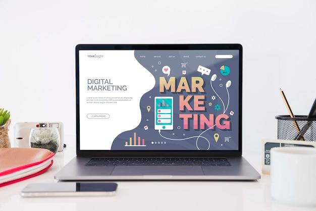 Concept de bureau de marketing numérique