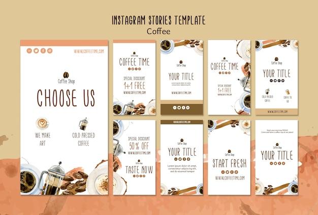 Concept de café pour le modèle d'histoires instagram