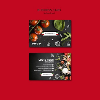 Concept de carte de visite de cuisine italienne