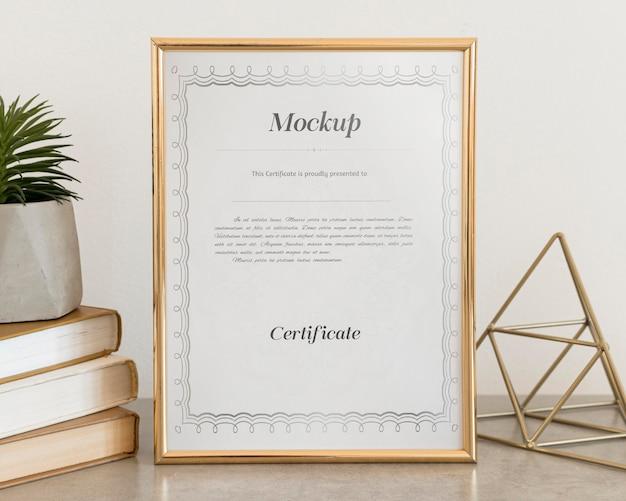 Concept de certificat avec maquette de cadre