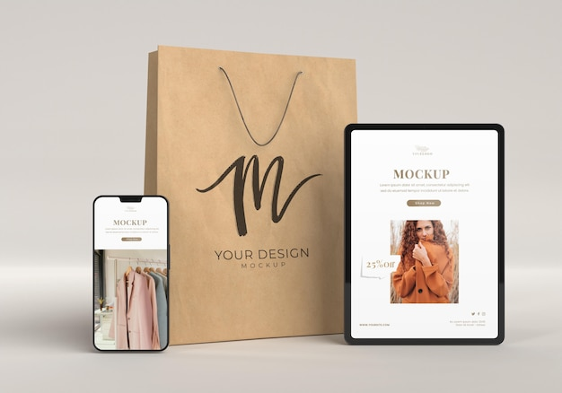 Concept commercial avec appareils et sac