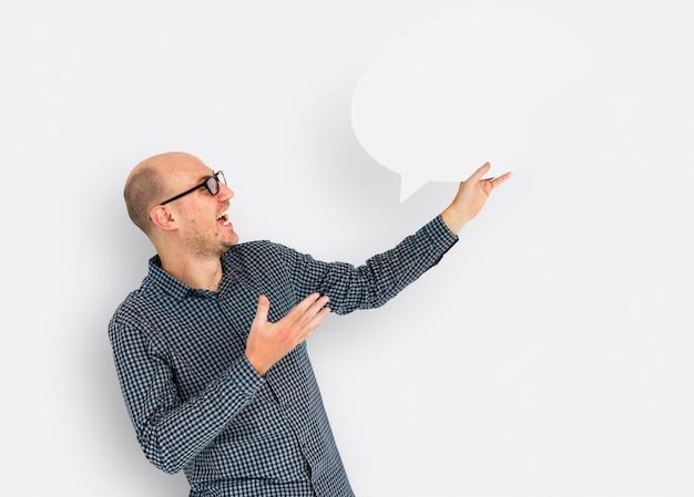 Concept de communication caucasian speech bubble