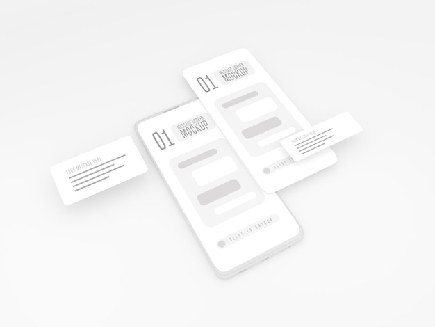 Concept de conversation de messagerie sur une maquette de téléphone portable
