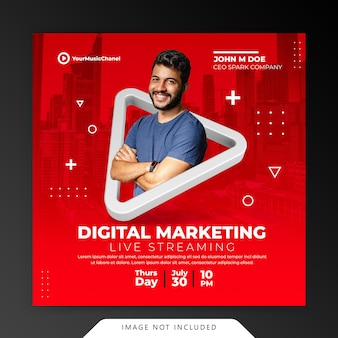 Concept créatif atelier de diffusion en direct instagram post modèle de promotion marketing des médias sociaux