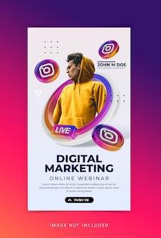 Concept créatif atelier de streaming en direct marketing sur les médias sociaux modèle d'histoires instagram