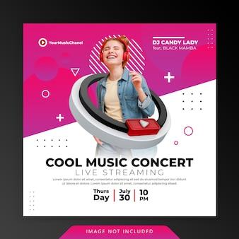 Concept créatif live streaming musique concert instagram post modèle de promotion marketing des médias sociaux