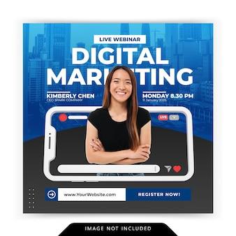 Concept créatif de médias sociaux instagram en direct pour le modèle de promotion du marketing numérique