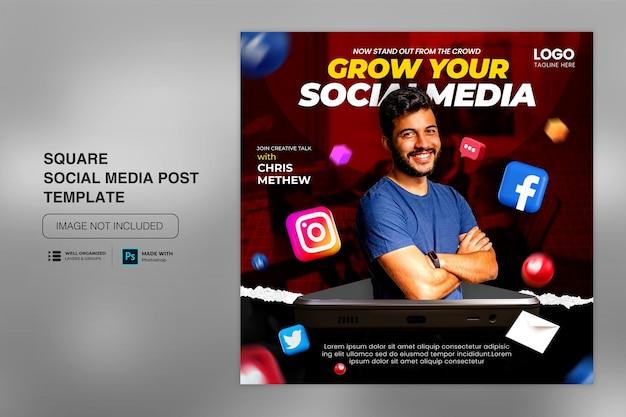 Concept créatif de médias sociaux sur instagram pour le modèle de promotion du marketing numérique