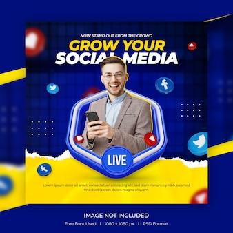 Concept créatif des médias sociaux et publication instagram pour le modèle de promotion du marketing numérique