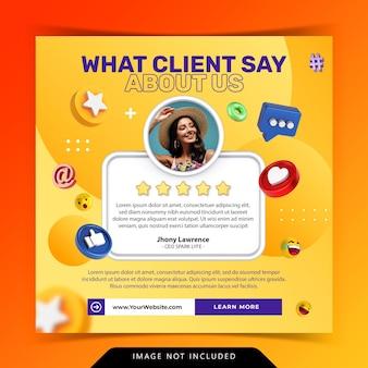 Concept créatif pour les commentaires satisfaits des témoignages des clients sur les médias sociaux instagram post template