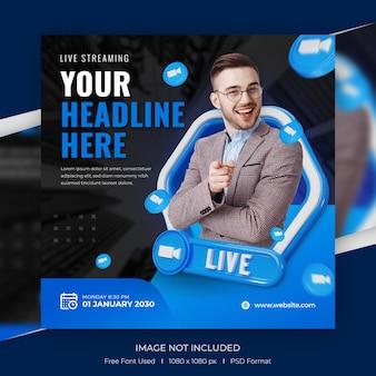 Concept créatif promotion des médias sociaux pour la publication instagram avec modèle 3d
