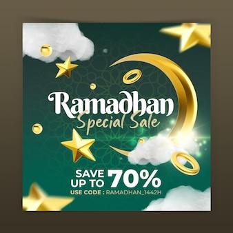 Concept créatif ramadhan fashion sale instagram post modèle de promotion marketing des médias sociaux