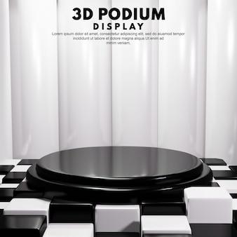 Concept d'échiquier podium 3d