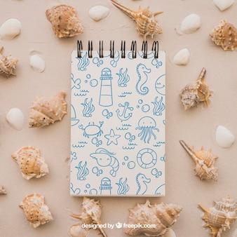 Concept d'été avec bloc-notes et mollusques