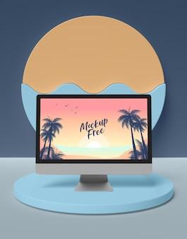 Concept d'été avec ordinateur