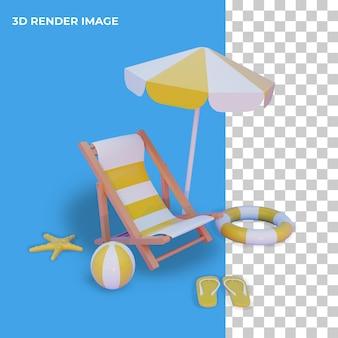 Concept d'été de rendu 3d isolé