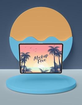 Concept d'été avec tablette