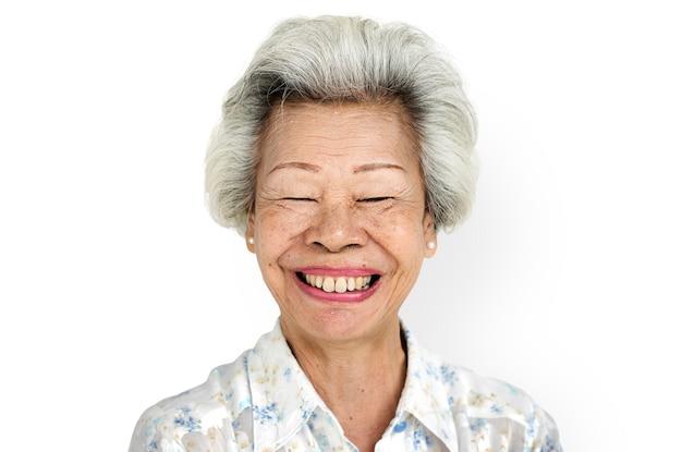 Concept de femme portrait expression fond blanc