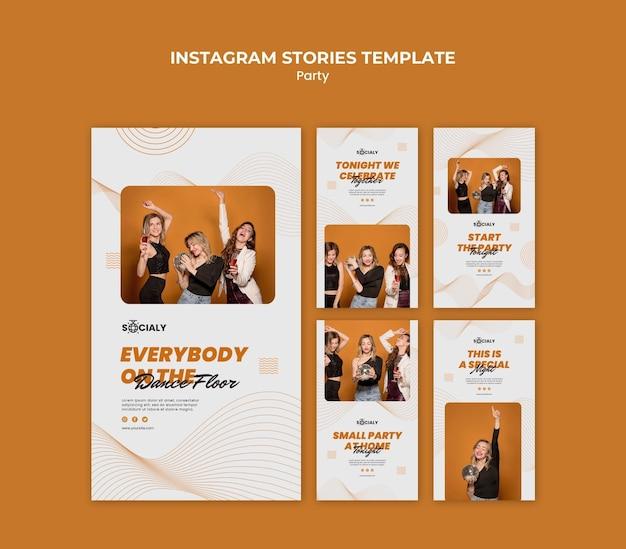 Concept de fête instagram stories