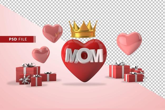 Concept de fête des mères rose en 3d avec des coeurs