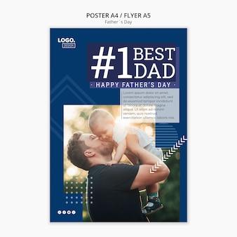 Concept de flyer fête des pères heureux