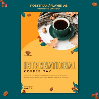 Concept de flyer de la journée internationale du café