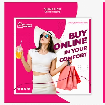 Concept de flyer en ligne shopping
