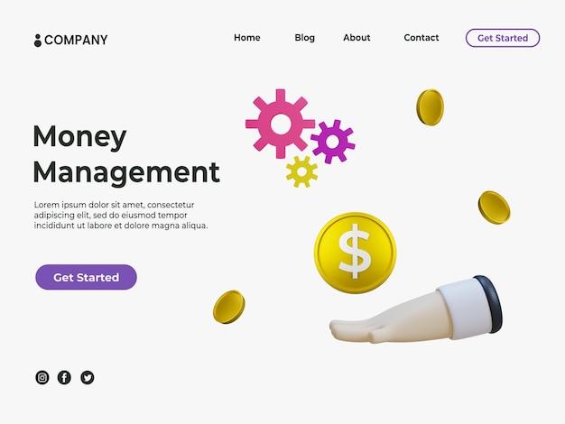Concept de gestion de l'argent 3d avec illustration de l'argent et de la main pour la page de destination