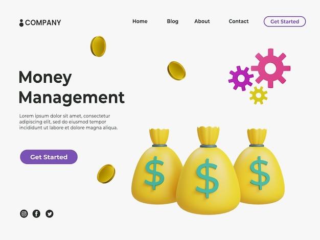 Concept de gestion de l'argent 3d avec illustration de l'argent et des pièces pour la page de destination