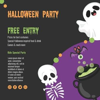 Concept d'halloween effrayant avec squelette et fantôme