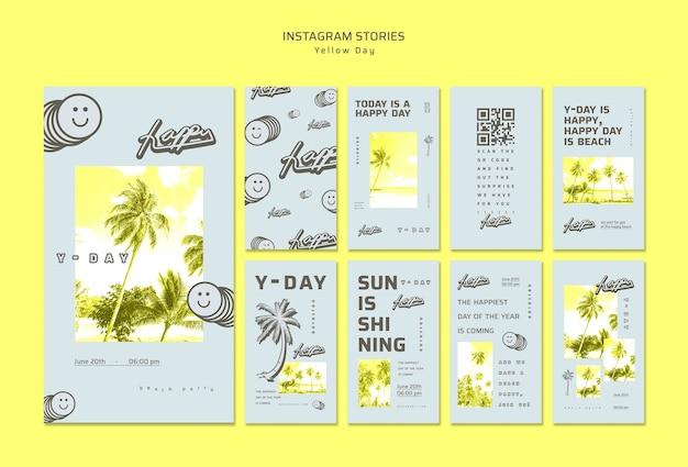 Concept d'histoires instagram jaune