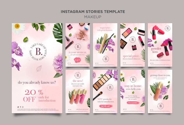 Concept d'histoires instagram de maquillage