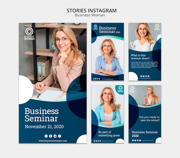 Concept d'histoires instagram pour entreprises