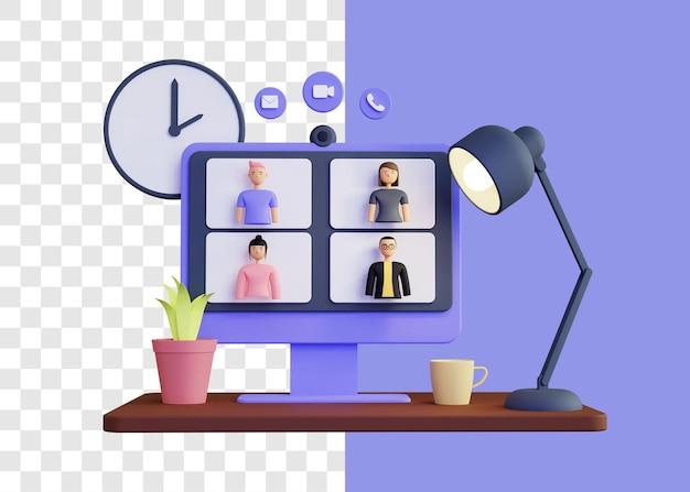 Concept d'illustration 3d de réunion en ligne