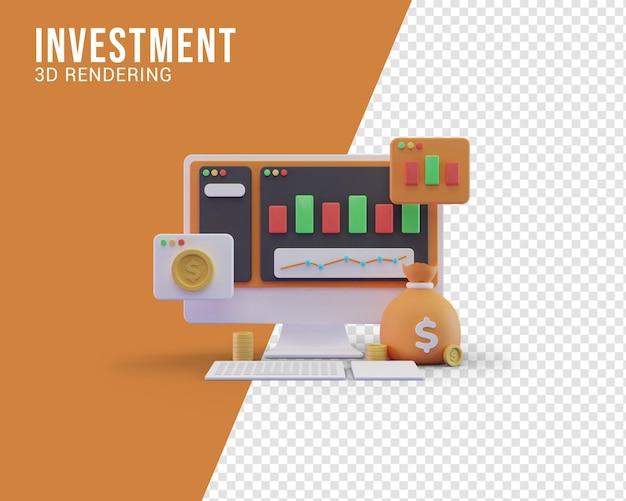 Concept d'illustration d'investissement, rendu 3d