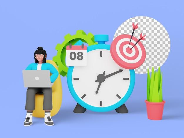 Concept illustré de gestion du temps pour la page de destination. illustration 3d