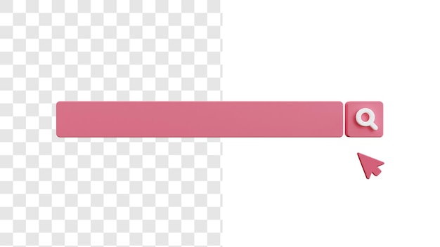 Concept d'image vierge de la barre de recherche 3d avec pointeur